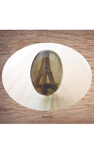 Bague cabochon ovale bronze Tour Eiffel brune