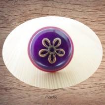 Bague bouton coco bordeaux et pierre naturelle