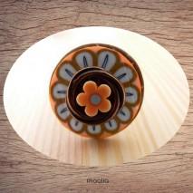 Bague bouton coco marron fleur polymère
