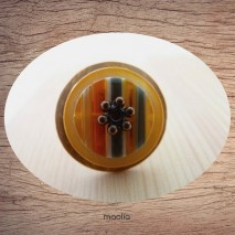 Bague bouton coco ocre nacre et verre orange