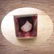 Bague cabochon carrée petite fille robe rose