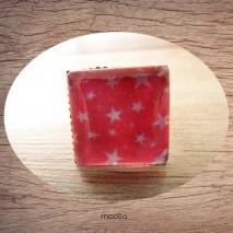 Bague cabochon carrée étoiles fond rose