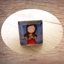 Bague cabochon carrée petite fille petite étoile