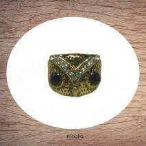 Bague anneau large tête de chouette bronze