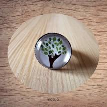 Bague cabochon arbre vert