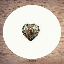 Bague forme coeur argenté avec perle de couleur