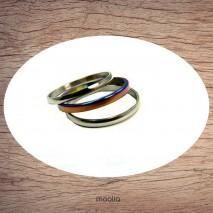 Bague trois anneaux argent et couleur