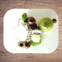 Bague perles variées ton vert