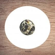 Bague émaillée ronde spirales et cristal