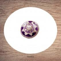 Bague émaillée ronde étoile centrale et cristal