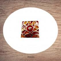 Bague carrée brun et rouge vitrail