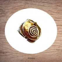 Bague carrée émaillée brune et argent en spirale