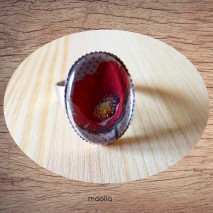 Bague cabochon ovale gros coquelicot