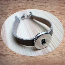 Bracelet cuir pression taupe