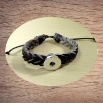 Bracelet pression tresse en cuir