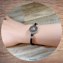 Bracelet fin en cuir noir pression