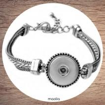 Bracelet pression trois chaînes argent
