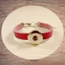 Bracelet pression cuir rose fuchsia