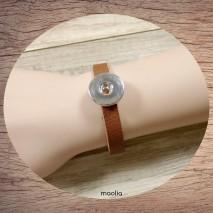 Bracelet pression cuir fauve
