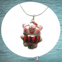Collier petit cochon porcelaine