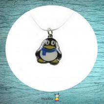 Collier pingouin noir jaune et mauve