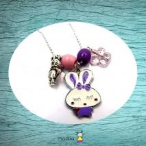 Collier argent lapin blanc mauve et petite souris