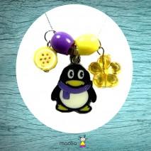 Collier pingouin jaune et mauve