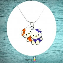 Collier duo petites chattes