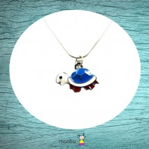 Collier tortue bleue blanche rouge