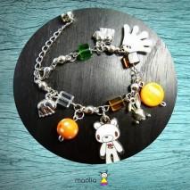 Bracelet ourson blanc et petits éléphants