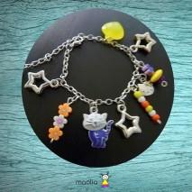 Bracelet drôle de chat violet et blanc