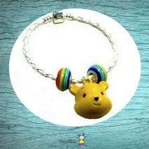 Bracelet ourson jaune tresse blanche