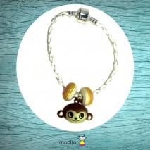 Bracelet petit singe tresse blanche
