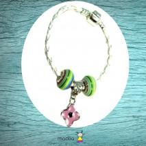 Bracelet fleur rose tresse blanche