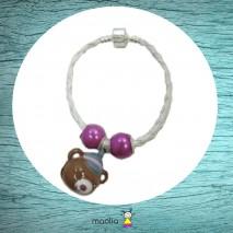 Bracelet ourson casquette tresse blanche