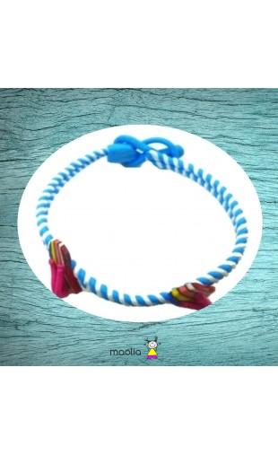 Bracelet tressé bleu et blanc déco tongs