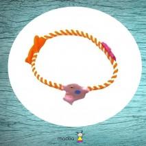 Bracelet tressé orange aux dauphins