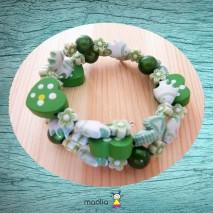Bracelet enfant trois tours vert et blanc