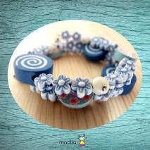 Bracelet enfant trois tours bleu blanc et rose