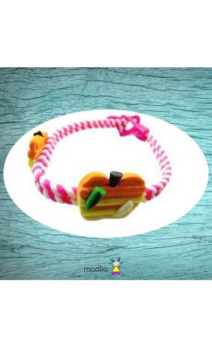 Bracelet tressé rose et pommes à rayures