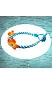 Bracelet tressé bleu et blanc fleurs orange