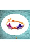 Bracelet tressé orange étoiles