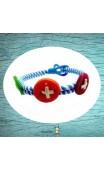 Bracelet tressé bleu trois boutons