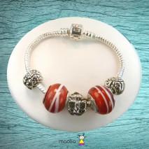 Bracelet Pandamaolia perles rouges et grenouille