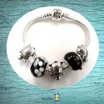Bracelet Pandamaolia tortues et perles de verre