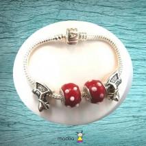 Bracelet Pandamaolia chevaux et perles rouges à pois