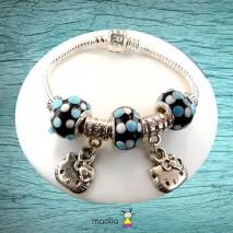 Bracelet Pandamaolia chattes et perles tons bleus