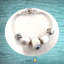 Bracelet Pandamolia perles blanches lumineuses