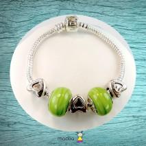 Bracelet Pandamaolia perles vertes et petits coeurs