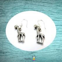 Boucles d'oreilles argent girafe